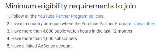 YouTube Partner Program Eligibility